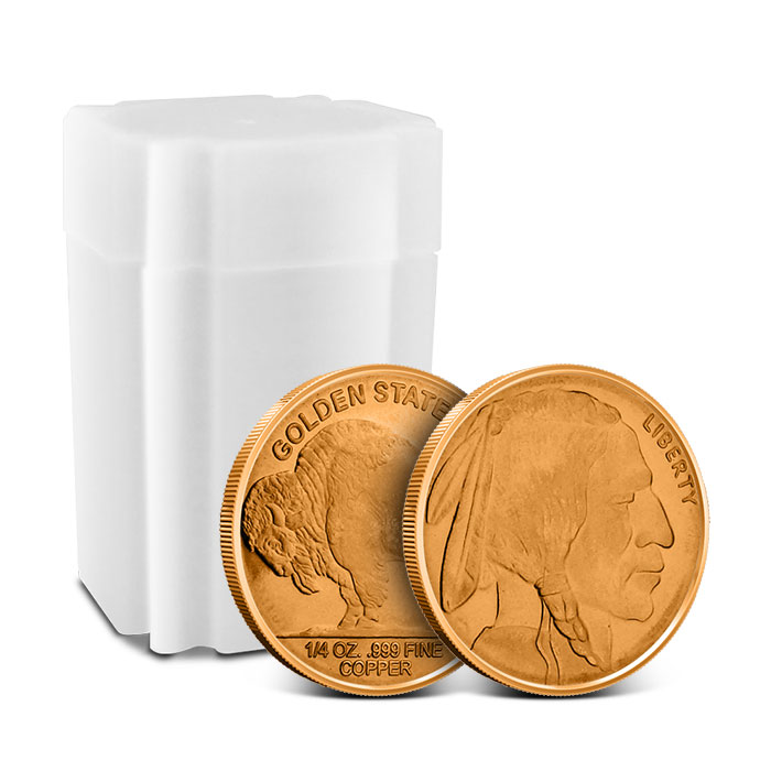 Buffalo Nickel Fourth oz Copper Round with Tube