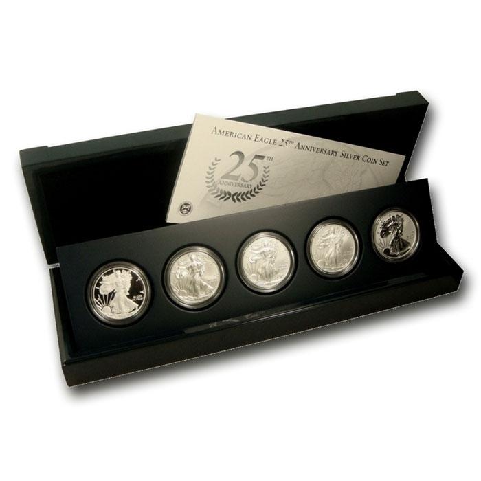 2011- 25th Anniversary Silver Eagle Complete 5 Coin Set