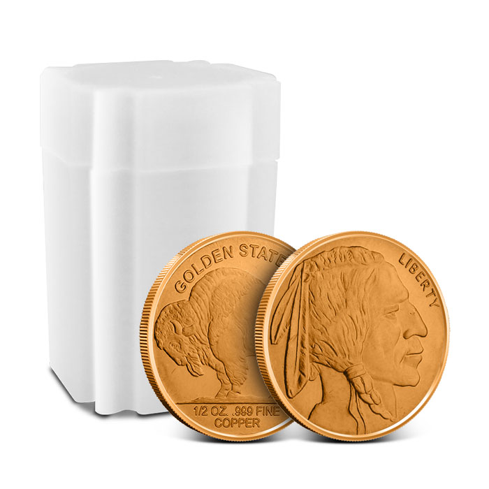 Buffalo Nickel 1/2 oz Copper Round with Roll