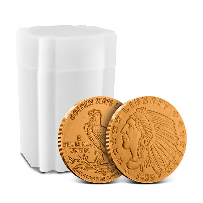 Incuse Indian 1/2 oz Copper Round with Tube