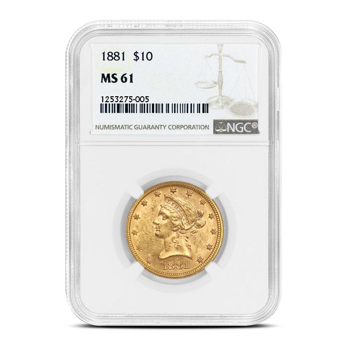 $10 Gold Liberty NGC MS61