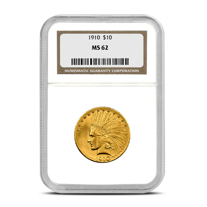 $10 Indian Head NGC MS62 Gold Eagle Coin Obverse