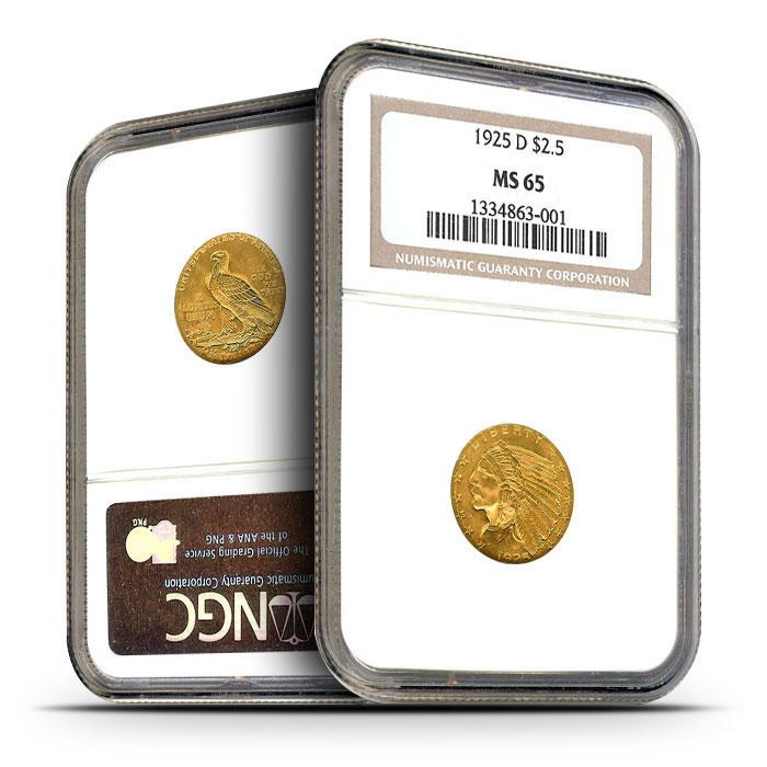 $2.50 Indian Head Quarter Eagles | NGC MS65