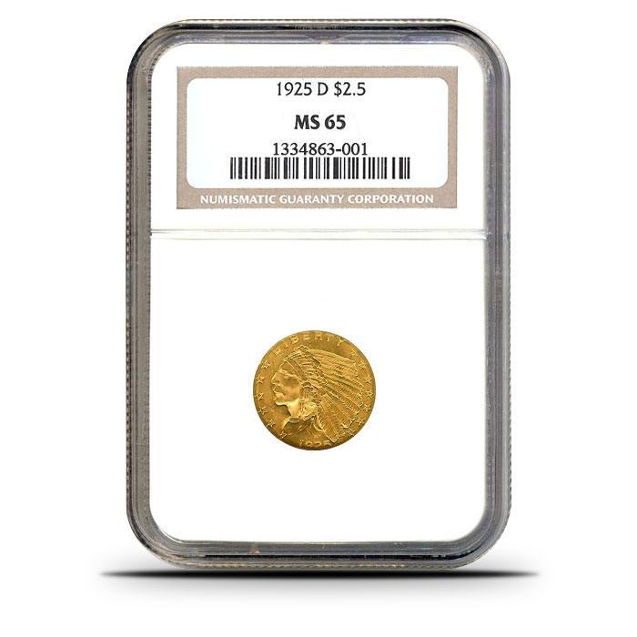 $2.50 Indian Head Quarter Eagle   NGC MS65 Obverse