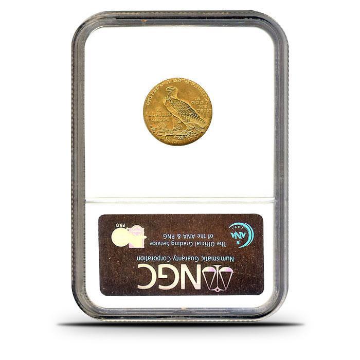 $2.50 Indian Head Quarter Eagle   NGC MS65 Reverse