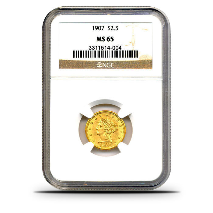 $2.50 Liberty Quarter Eagle | NGC MS65 Obverse