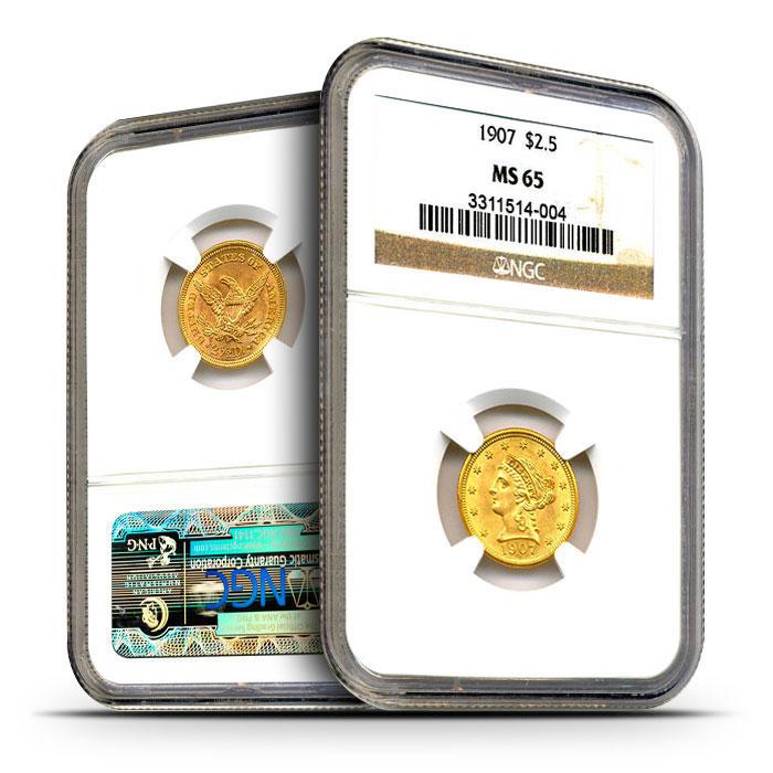 $2.50 Liberty Quarter Eagles | NGC MS65