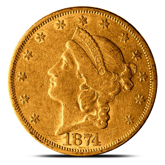 1870s $20 Gold Liberty Double Eagle XF