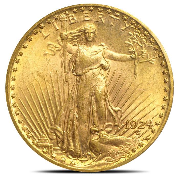 $20 Saint Gaudens PCGS MS62 Gold Double Eagle Coin Obverse