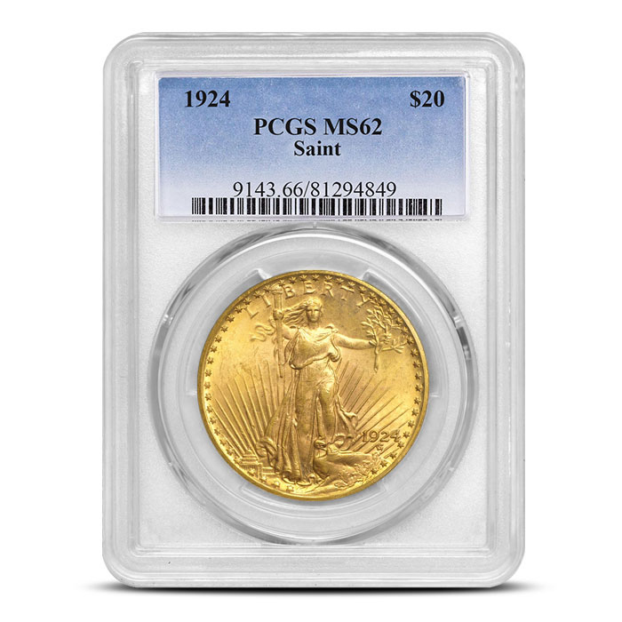 $20 Saint Gaudens PCGS MS62 Gold Double Eagle Coin Slabbed