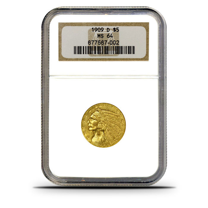$5 Indian Head Gold Half Eagle | NGC MS64 Obverse