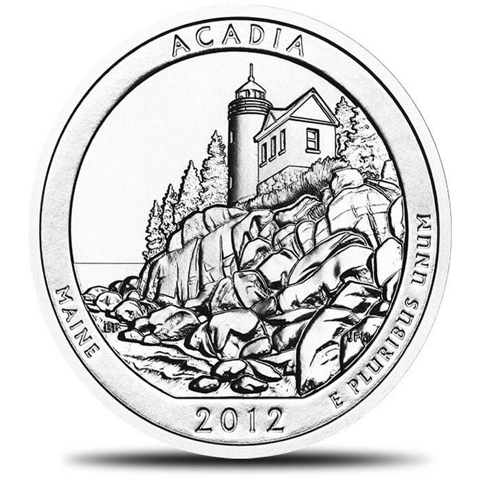 2012 Acadia America the Beautiful 5 oz Silver ATB Coin