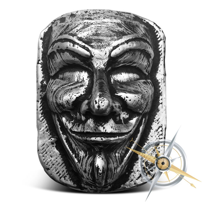 10 oz Silver Anonymous Mask MK BarZ