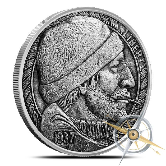 The Fisherman 1 oz Silver Antiqued Round | Hobo Nickels