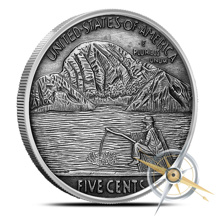 The Fisherman one ounce Silver Antiqued Round | Hobo Nickels