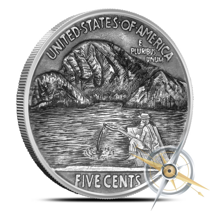 The Fisherman five ounce Silver Antiqued Round | Hobo Nickels