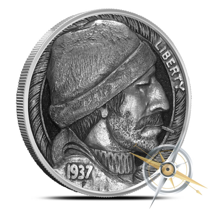 The Fisherman 5 oz Silver Antiqued Round | Hobo Nickels