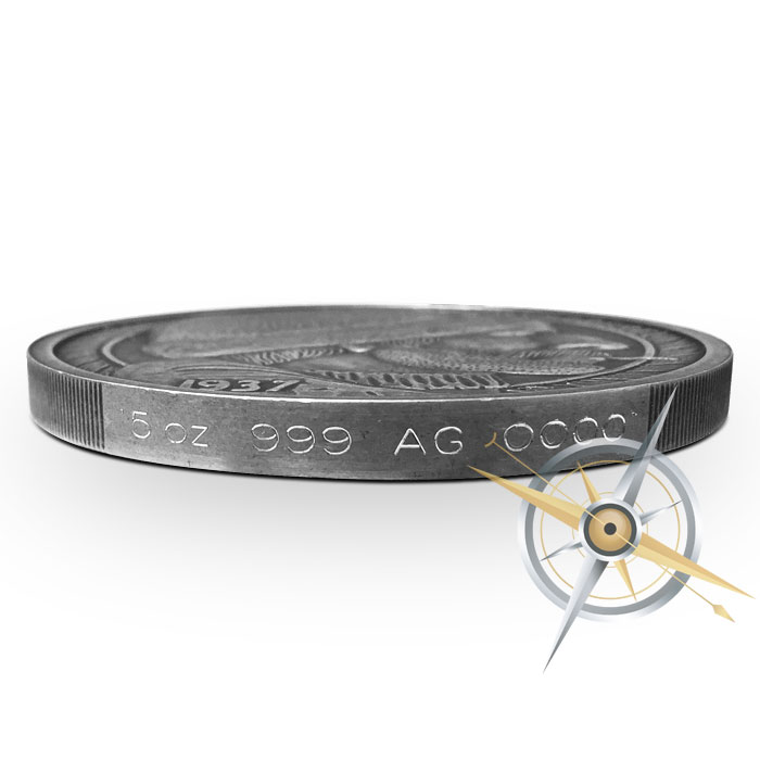 The Fisherman 5 oz Silver Antiqued Hobo Nickel