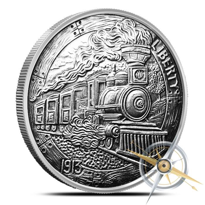 The Train 1 oz Silver Antiqued Hobo Nickel