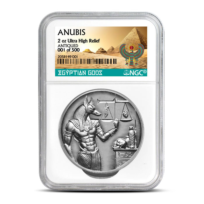Anubis Silver Round - Antiqued Numbered - NGC Certified