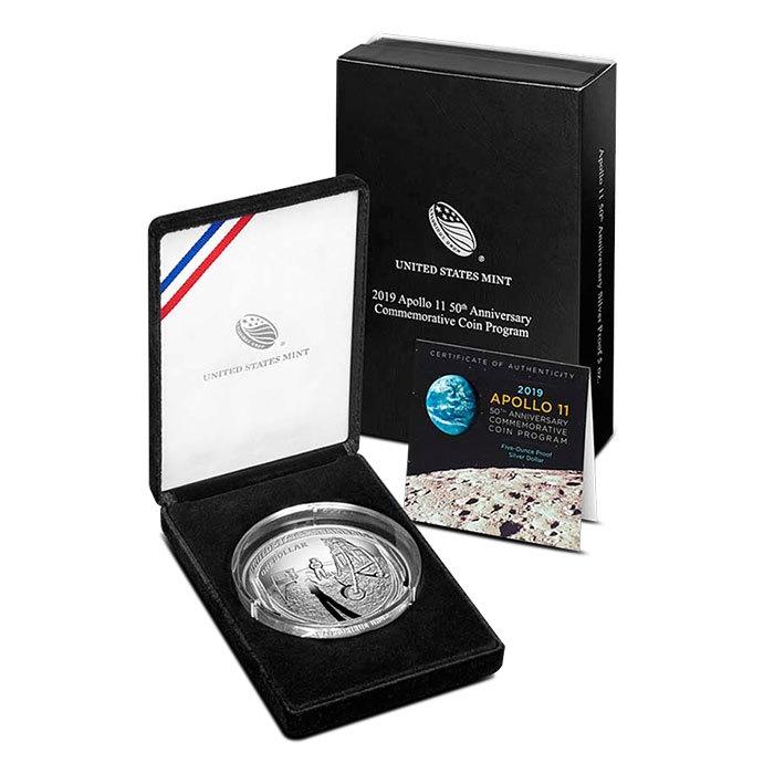 2019 5 oz Apollo 11 50th Anniversary Proof Silver Dollar Box & COA