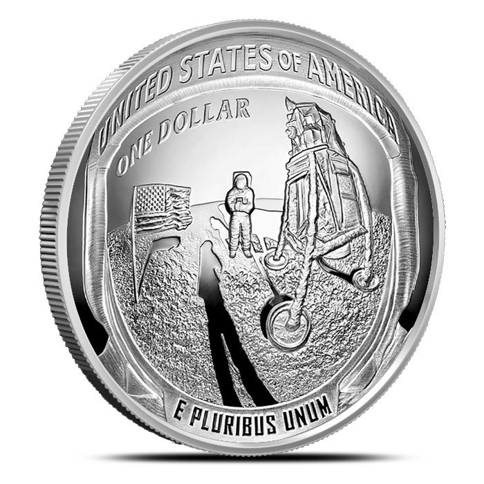 2019 5 oz Apollo 11 50th Anniversary Proof Silver Dollar Obverse