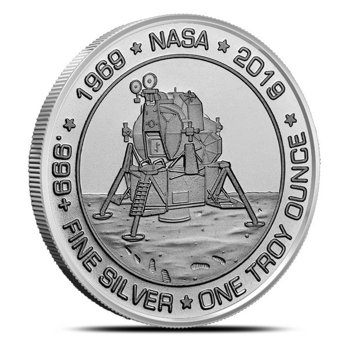1 oz Silver Apollo 11 Round Reverse
