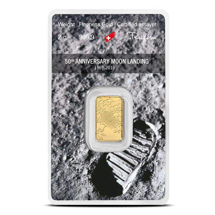 2 gram 50th Anniversary Moon Landing Gold Bar