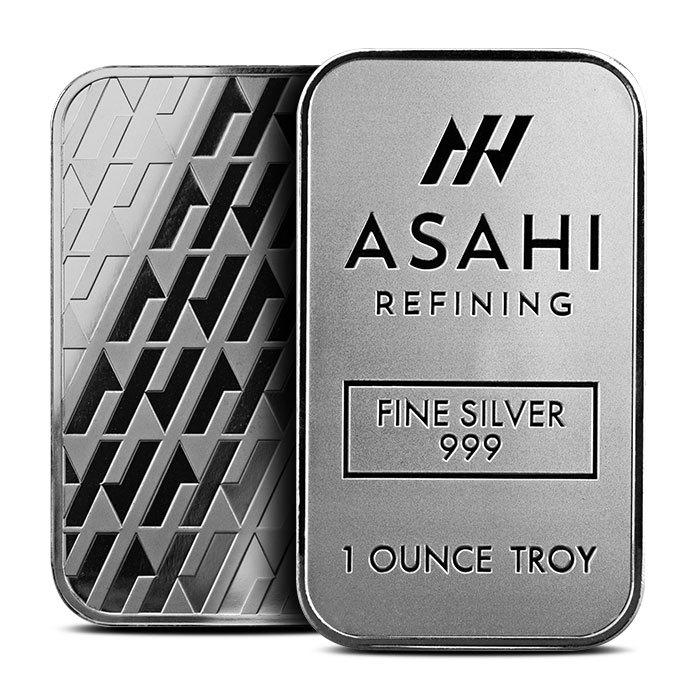 Asahi 1 oz Silver Bar Front & Back