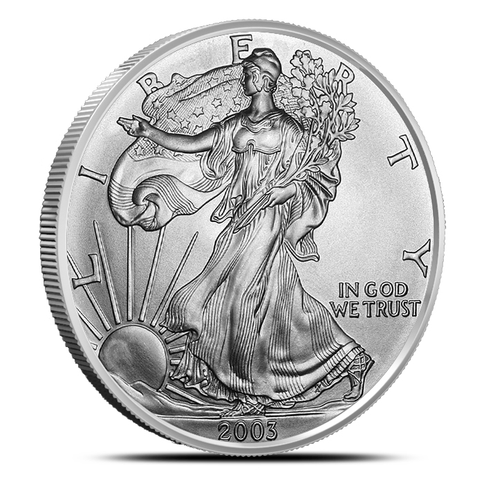 2003 American Silver Eagle Coin Brilliant Uncirculated Obverse