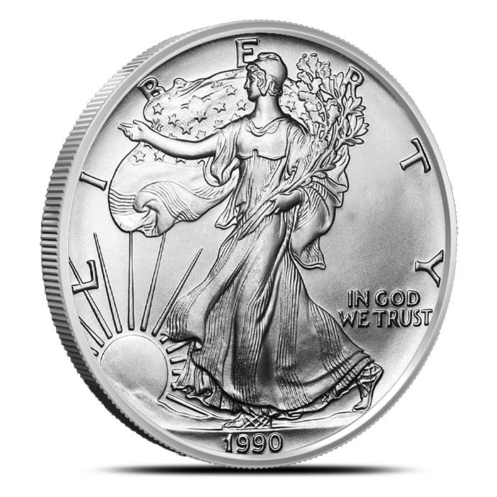 1990 American Silver Eagle Coin Brilliant Uncirculated Obverse