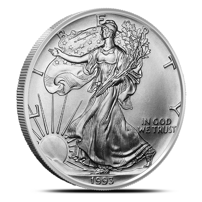 1993 American Silver Eagle Coin Brilliant Uncirculated Obverse