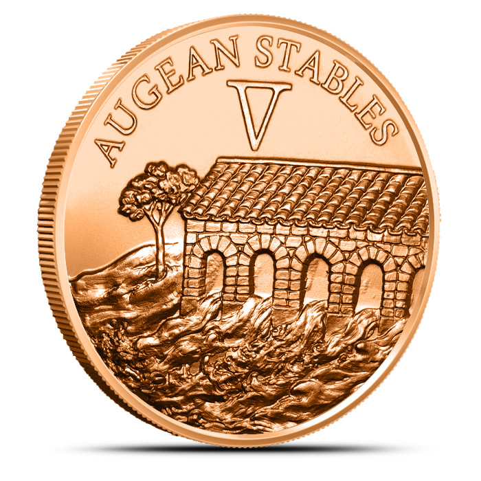 Augean Stables Copper Round   12 Labors of Hercules