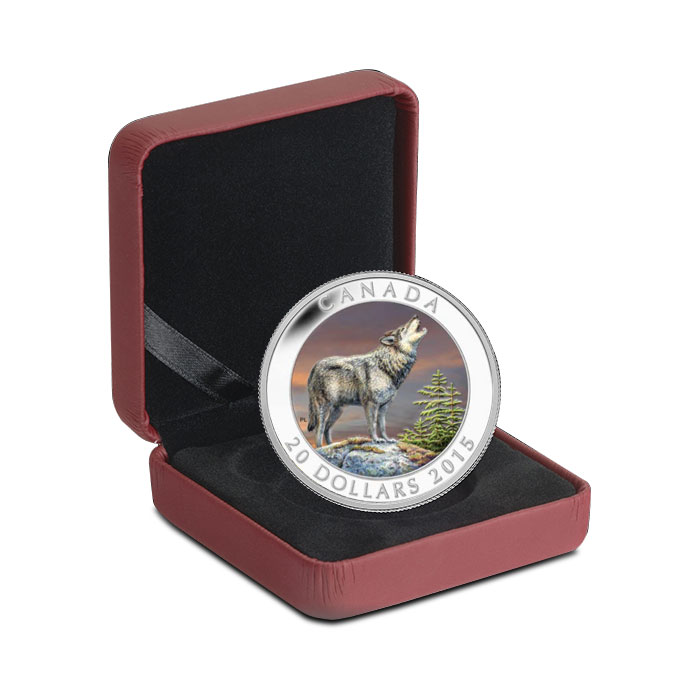 2015 1 oz Canadian Silver The Wolf Clamshell