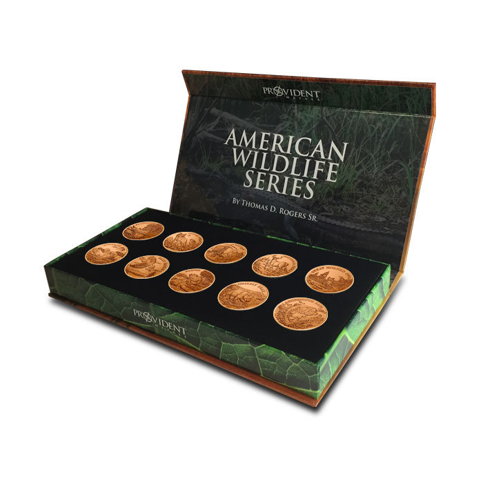 American Wildlife Series Complete Copper Round Set | Signed by Tom Rogers