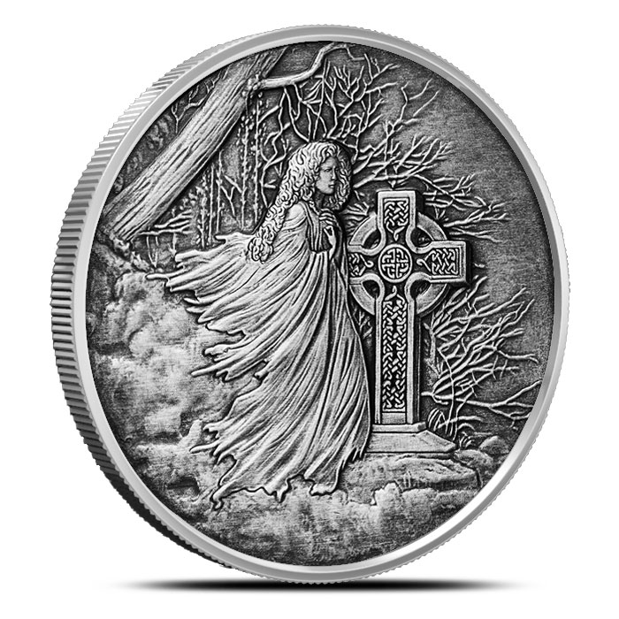 Banshee 1 oz Silver Antiqued Round Obverse