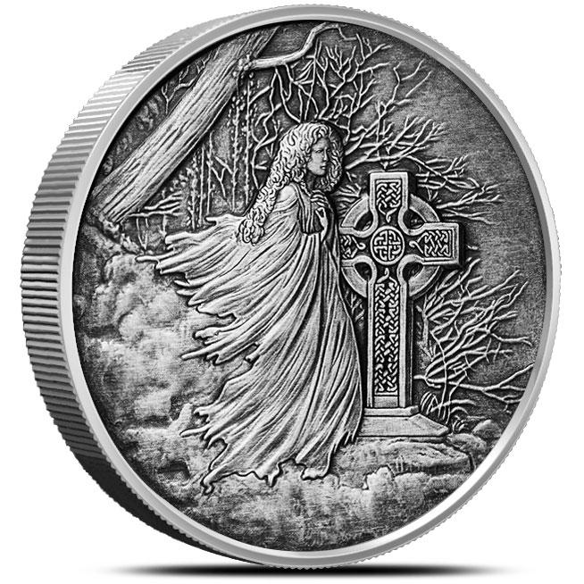 Banshee 5 oz Antiqued Silver Round Obverse