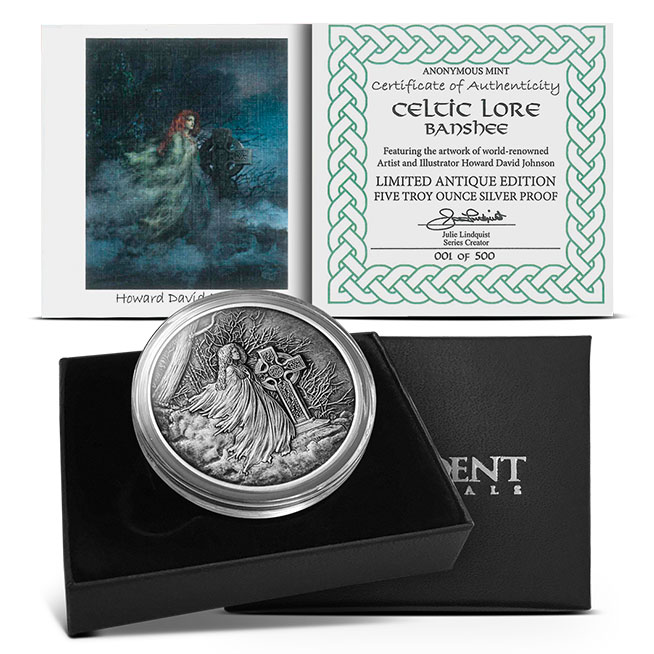 Banshee 5 oz Antiqued Silver Box and COA