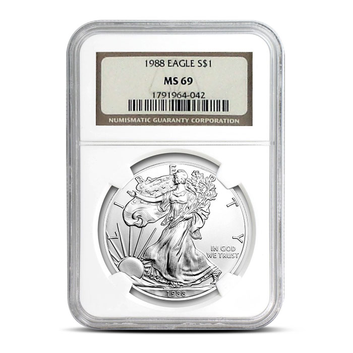 NGC MS69 1988 American Silver Eagle Coin Obverse