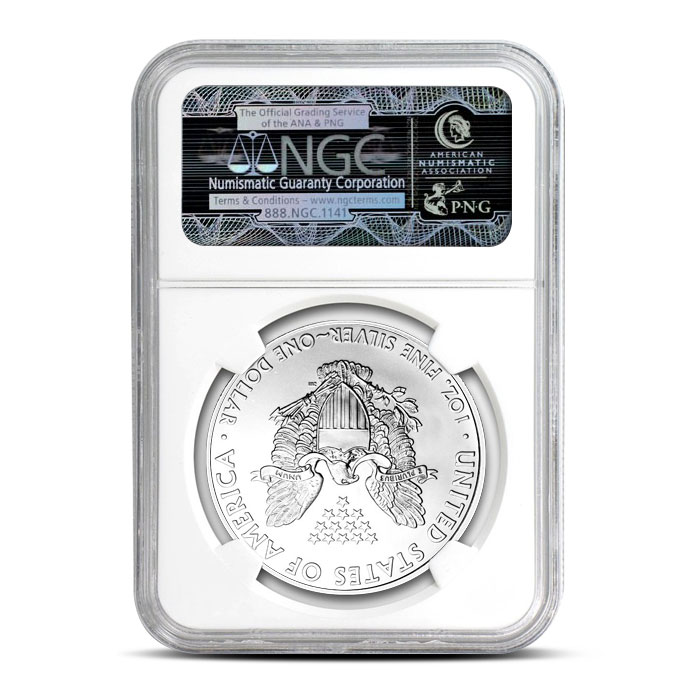 NGC MS69 1989 American Silver Eagle Coin Reverse