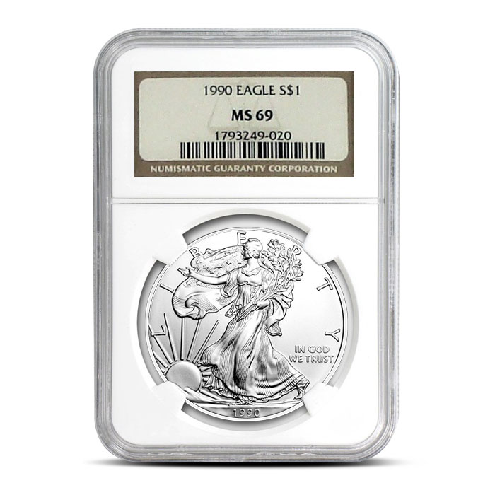 NGC MS69 1990 American Silver Eagle Coin Obverse