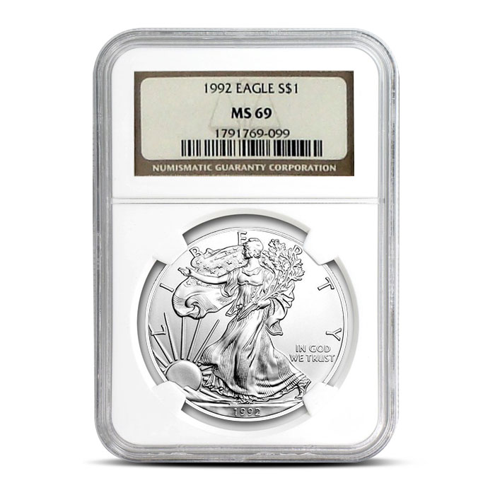 NGC MS69 1992 American Silver Eagle Coin Obverse