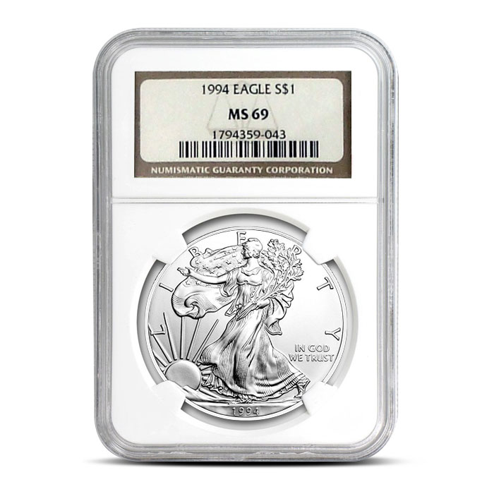 NGC MS69 1994 American Silver Eagle Coin Obverse
