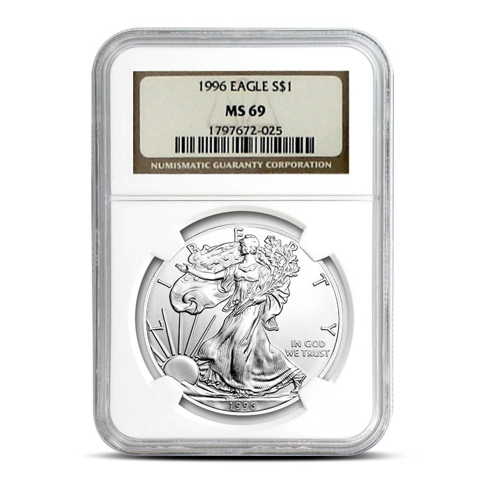 NGC MS69 1996 American Silver Eagle Coin Obverse