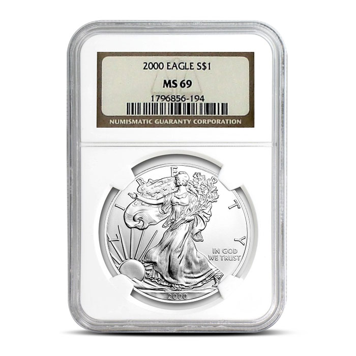 NGC MS69 2000 American Silver Eagle Coin Obverse