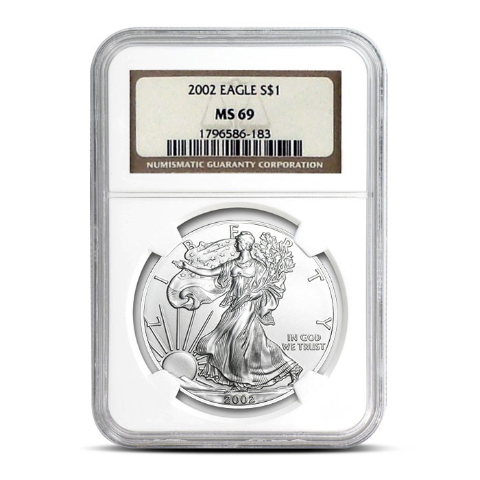 2002 American Silver Eagles NGC MS69 | Obverse