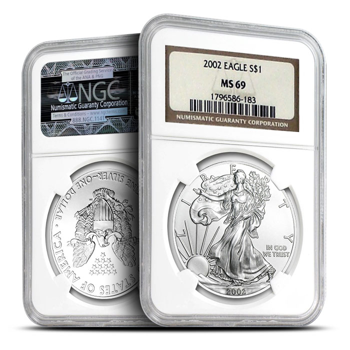 2002 American Silver Eagles NGC MS69