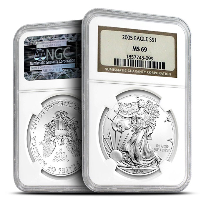2005 1 oz Silver Eagle NGC MS69