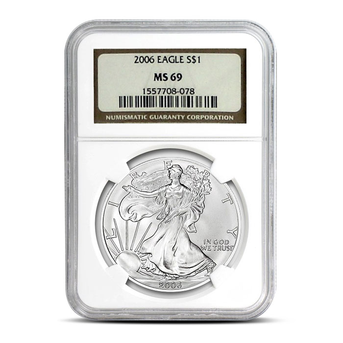 NGC MS69 2006 American Silver Eagle Coin Obverse