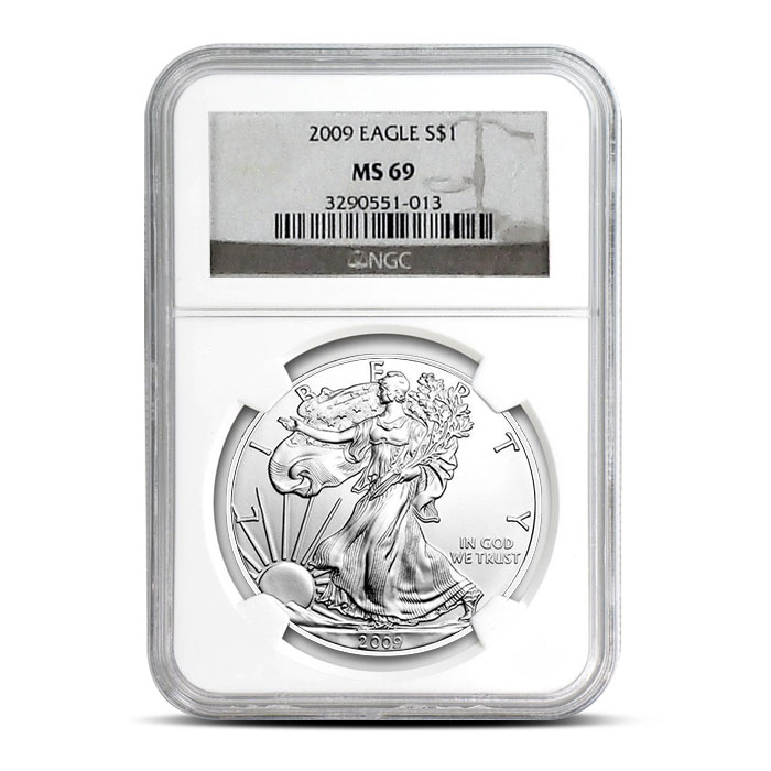 NGC MS69 2009 American Silver Eagle Coin Obverse